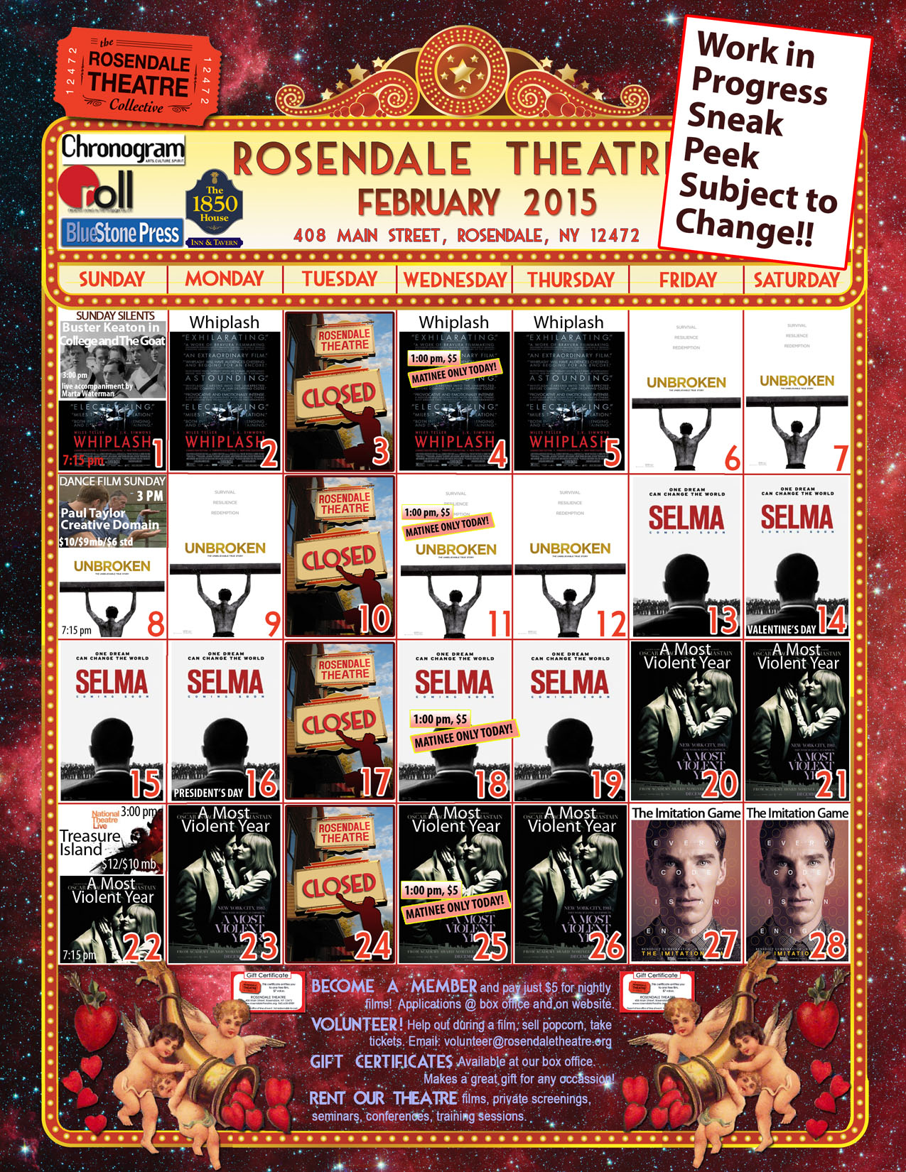 February 2015 Calendar Rosendale Theatre Work In Progress webb