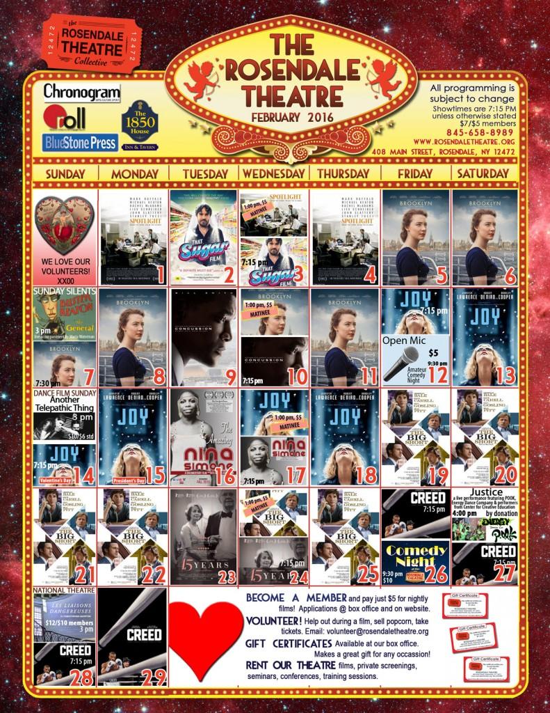 February 2016 Calendar Rosendale Theatre website