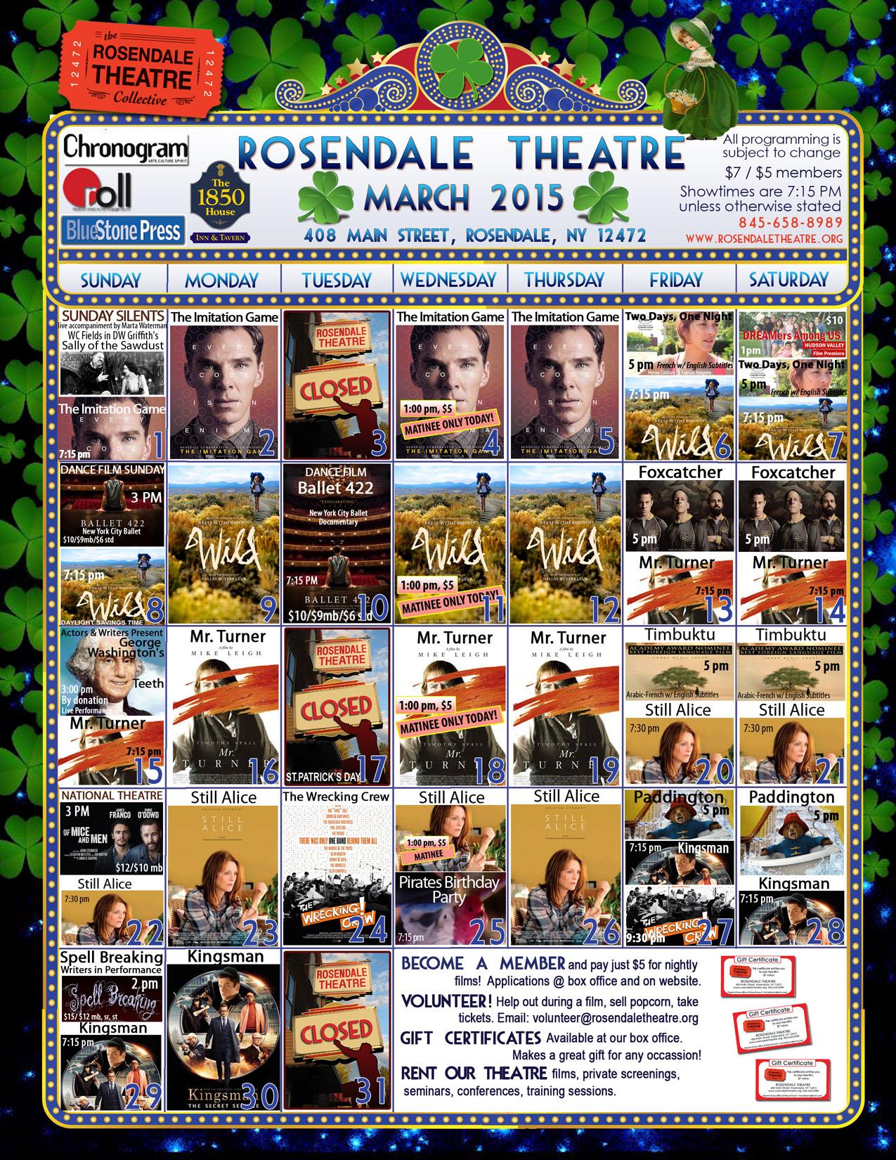 March 2015 Calendar Rosendale Theatre website
