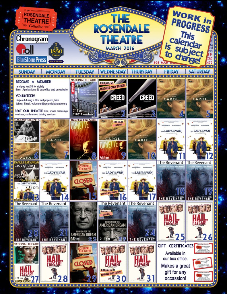 March Calendar 2016 Rosendale Theatre Website