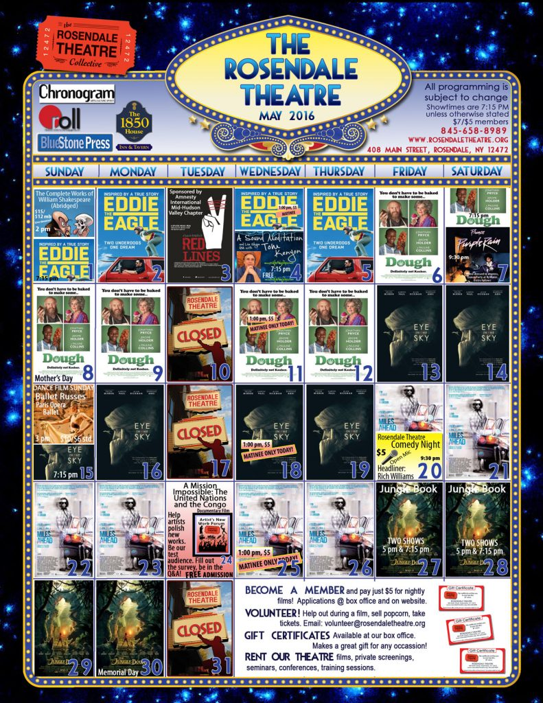 May 2016 Calendar Rosendale Theatre web